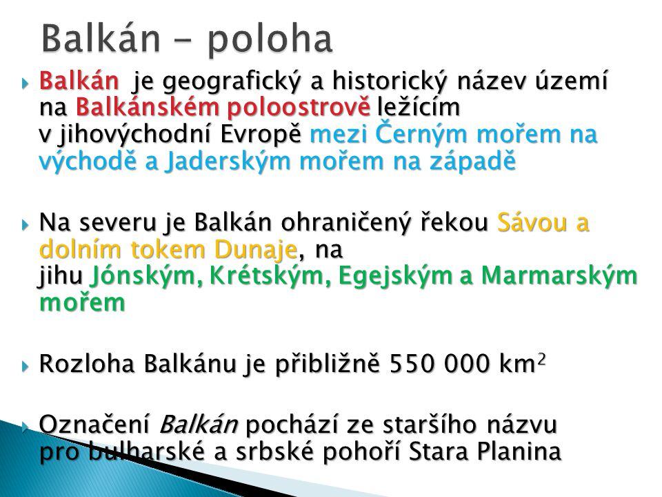 Balkán - poloha