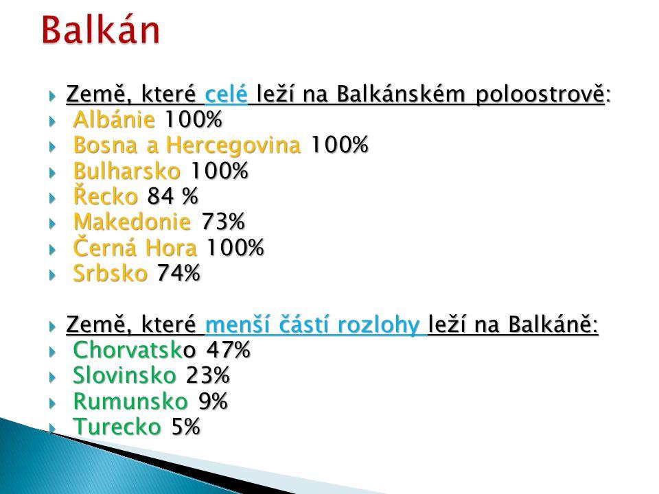 Balkán Země, které celé leží na Balkánském poloostrově: Albánie 100%