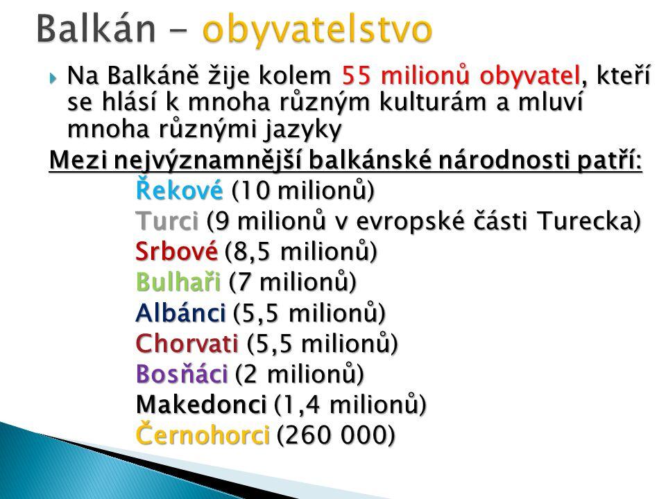 Balkán - obyvatelstvo Na Balkáně žije kolem 55 milionů obyvatel, kteří se hlásí k mnoha různým kulturám a mluví mnoha různými jazyky.