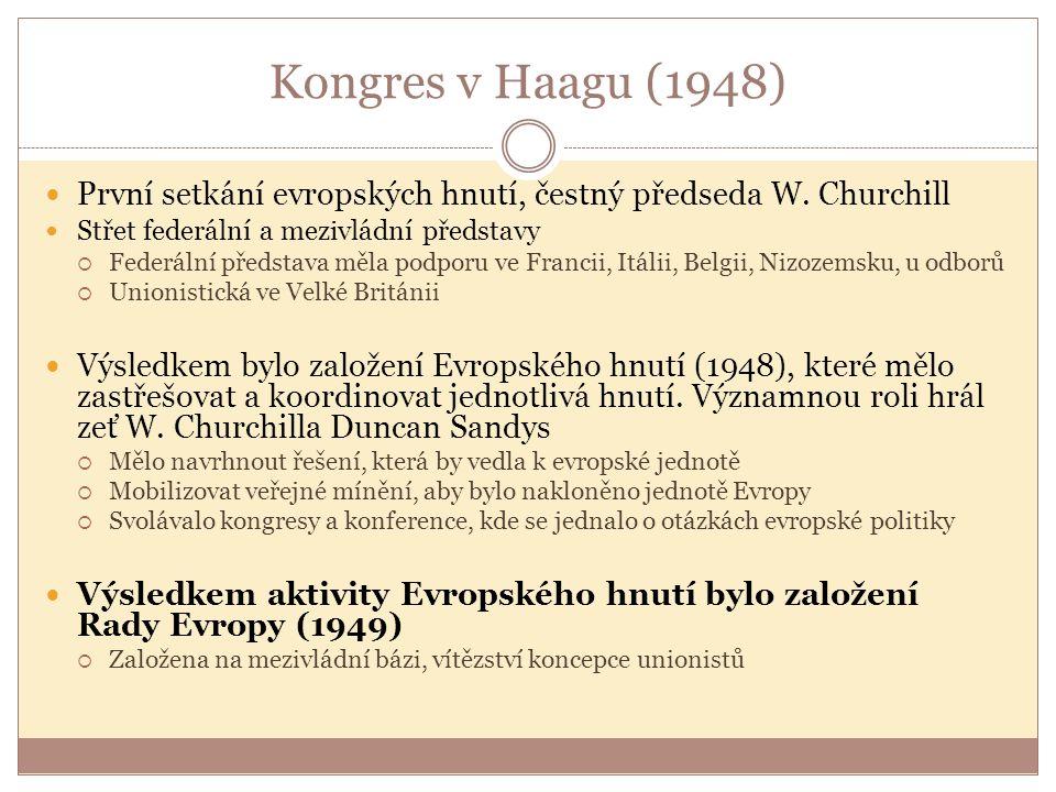 Kongres v Haagu (1948) První setkání evropských hnutí, čestný předseda W. Churchill. Střet federální a mezivládní představy.