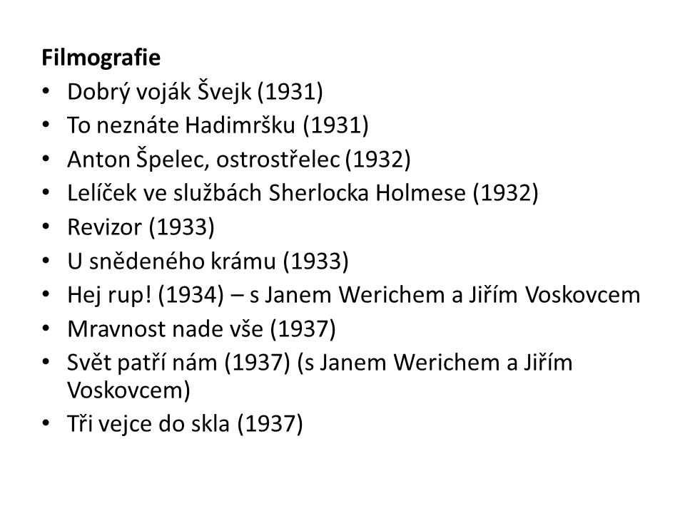 Filmografie Dobrý voják Švejk (1931) To neznáte Hadimršku (1931) Anton Špelec, ostrostřelec (1932)
