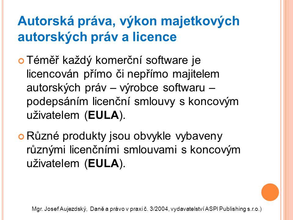 Autorská práva, výkon majetkových autorských práv a licence