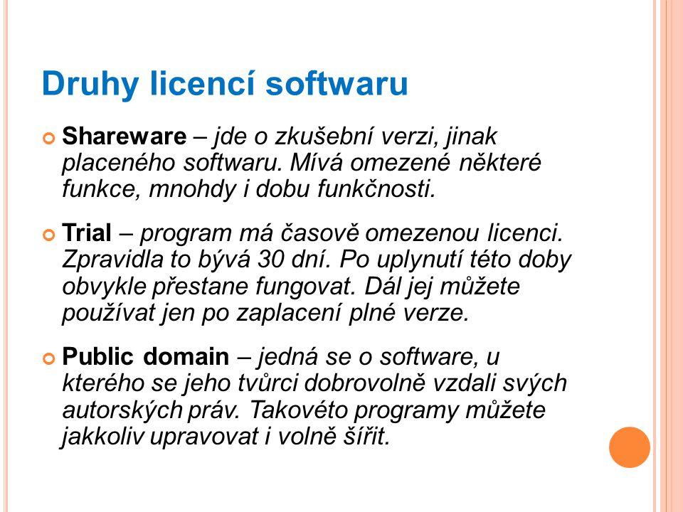 Druhy licencí softwaru