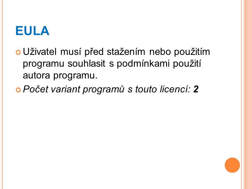 EULA Uživatel musí před stažením nebo použitím programu souhlasit s podmínkami použití autora programu.