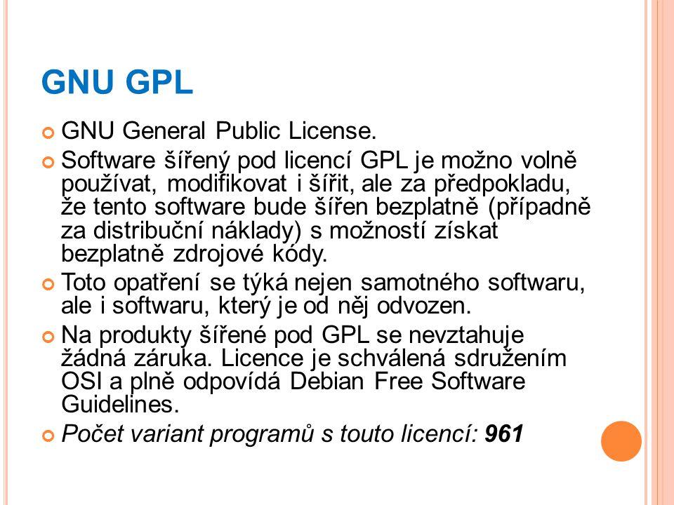 GNU GPL GNU General Public License.