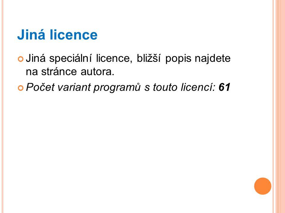 Jiná licence Jiná speciální licence, bližší popis najdete na stránce autora.