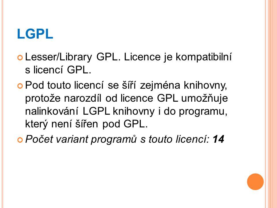 LGPL Lesser/Library GPL. Licence je kompatibilní s licencí GPL.