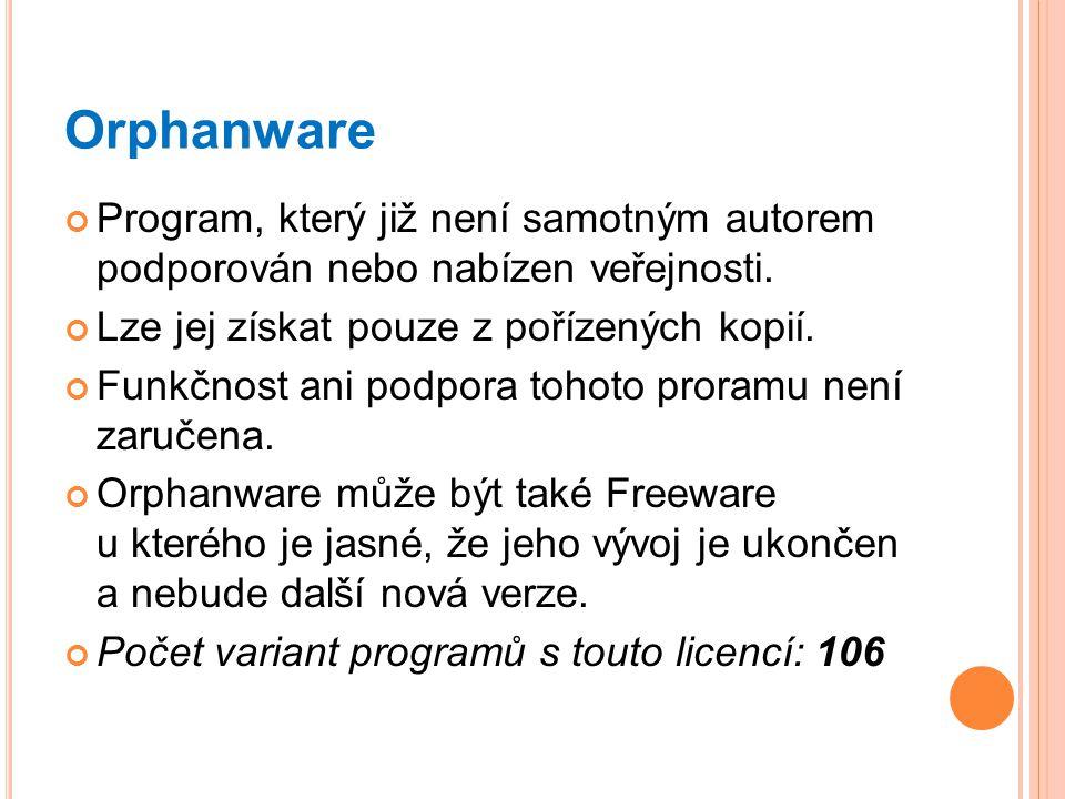 Orphanware Program, který již není samotným autorem podporován nebo nabízen veřejnosti. Lze jej získat pouze z pořízených kopií.