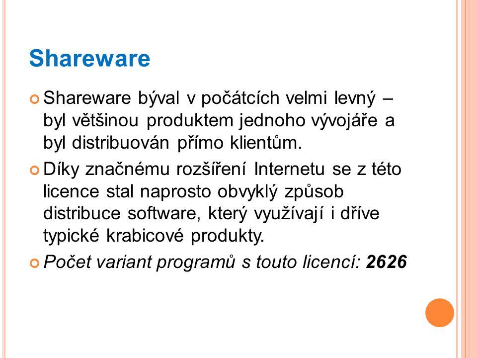 Shareware Shareware býval v počátcích velmi levný – byl většinou produktem jednoho vývojáře a byl distribuován přímo klientům.