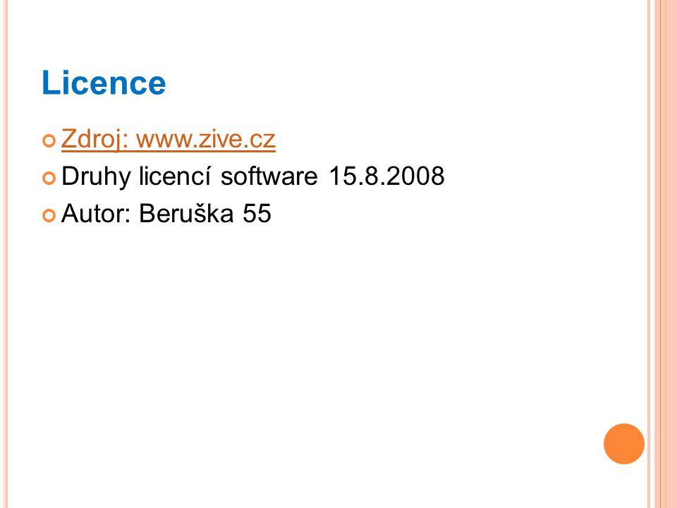 Licence Zdroj: www.zive.cz Druhy licencí software 15.8.2008
