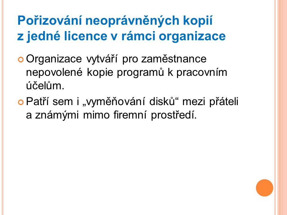 Pořizování neoprávněných kopií z jedné licence v rámci organizace