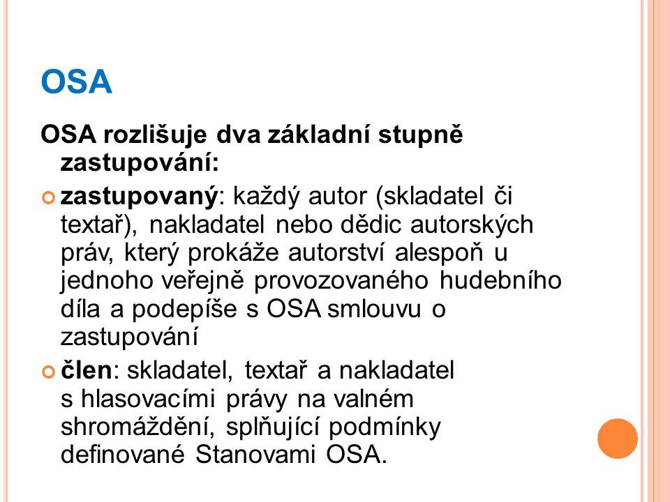 OSA OSA rozlišuje dva základní stupně zastupování: