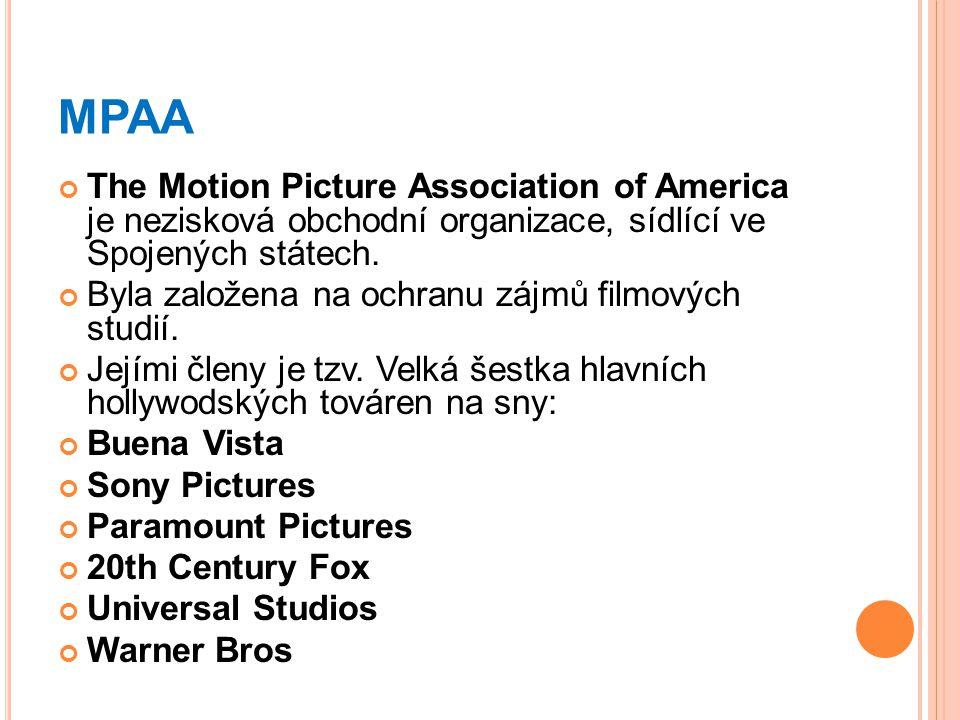 MPAA The Motion Picture Association of America je nezisková obchodní organizace, sídlící ve Spojených státech.