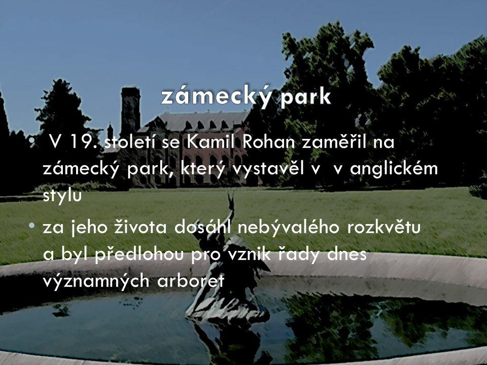 zámecký park V 19. století se Kamil Rohan zaměřil na zámecký park, který vystavěl v v anglickém stylu.