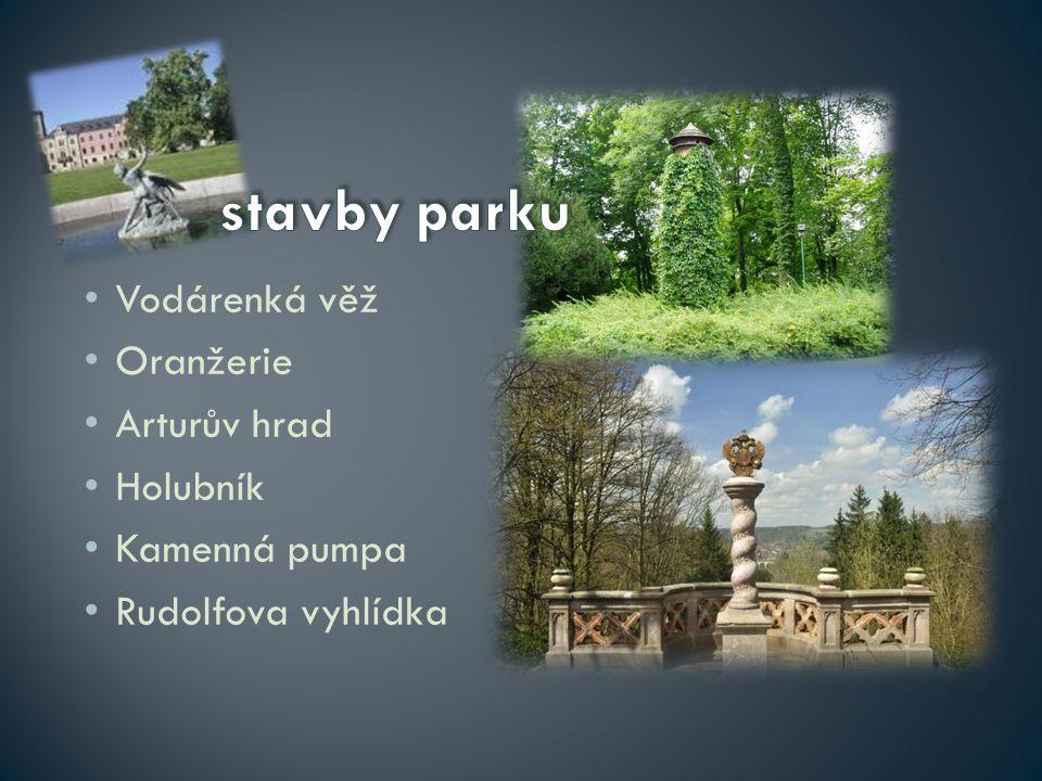 stavby parku Vodárenká věž Oranžerie Arturův hrad Holubník