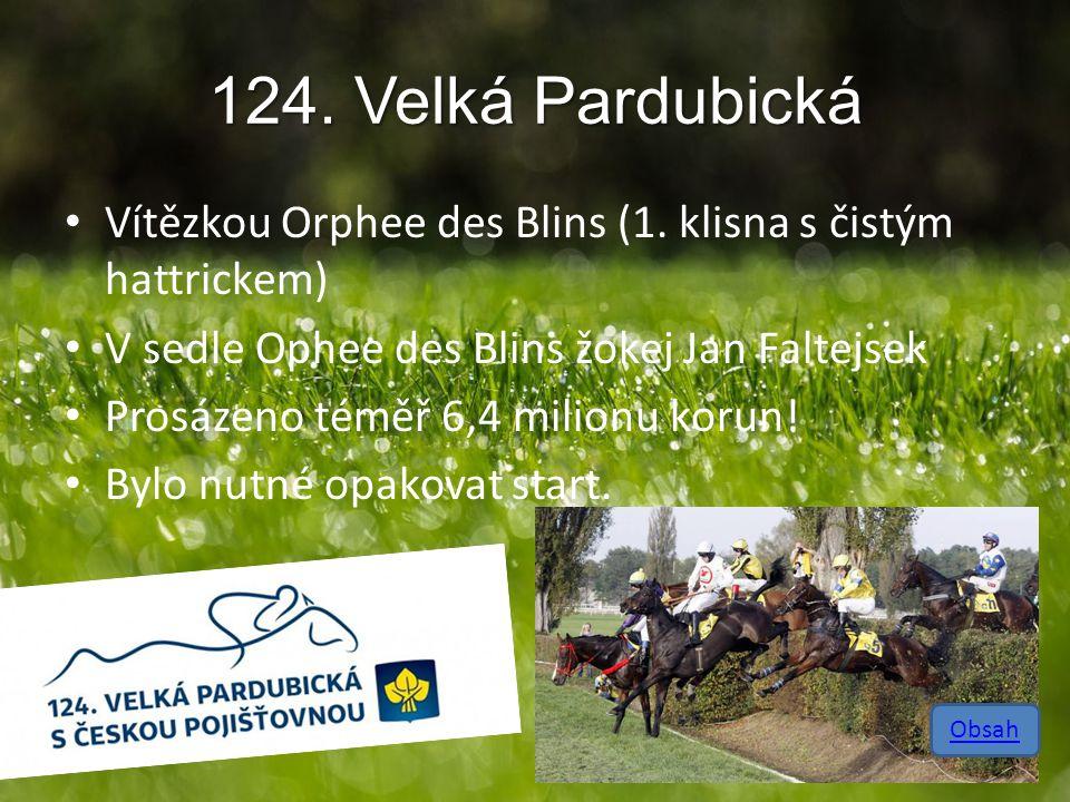 124. Velká Pardubická Vítězkou Orphee des Blins (1. klisna s čistým hattrickem) V sedle Ophee des Blins žokej Jan Faltejsek.
