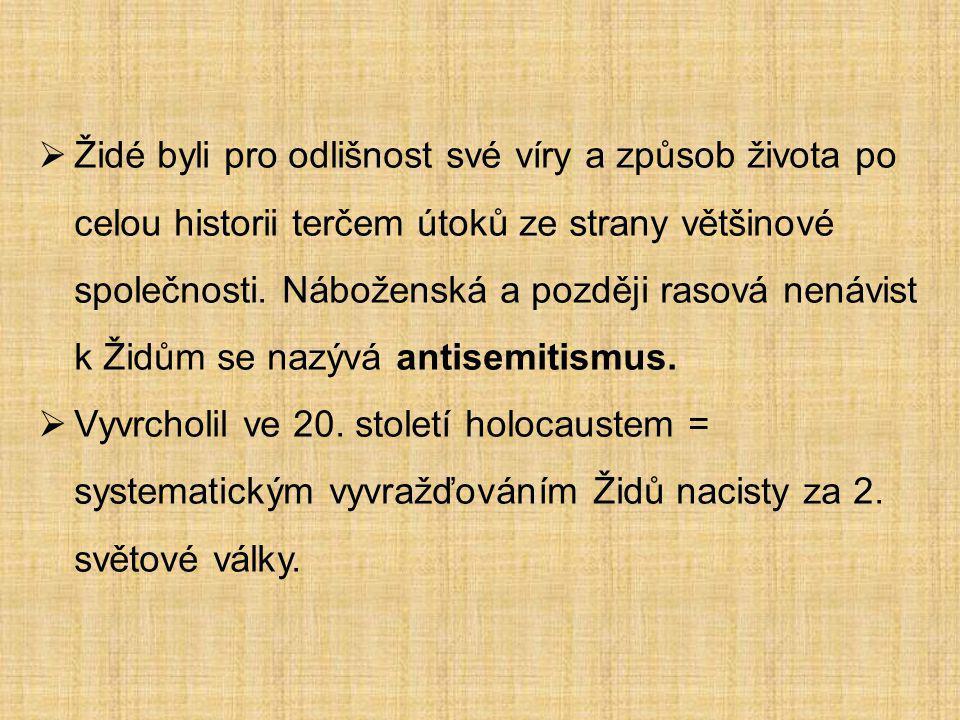 Židé byli pro odlišnost své víry a způsob života po celou historii terčem útoků ze strany většinové společnosti. Náboženská a později rasová nenávist k Židům se nazývá antisemitismus.