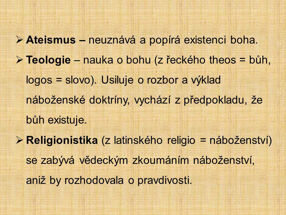 Ateismus – neuznává a popírá existenci boha.