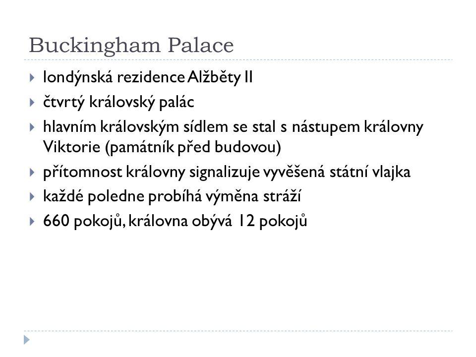 Buckingham Palace londýnská rezidence Alžběty II