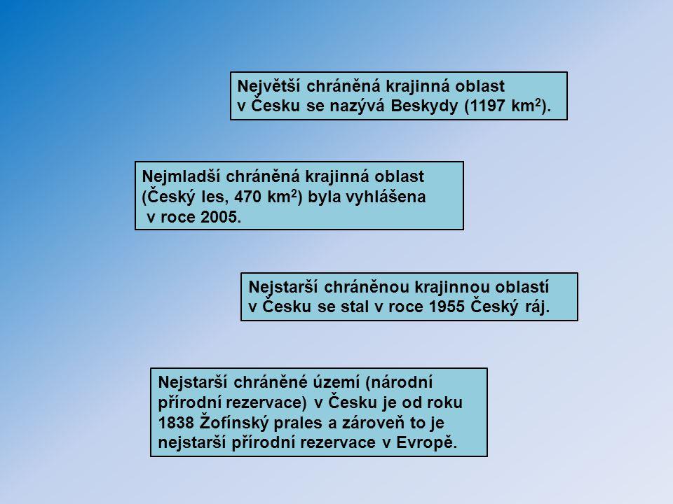 Největší chráněná krajinná oblast v Česku se nazývá Beskydy (1197 km2).