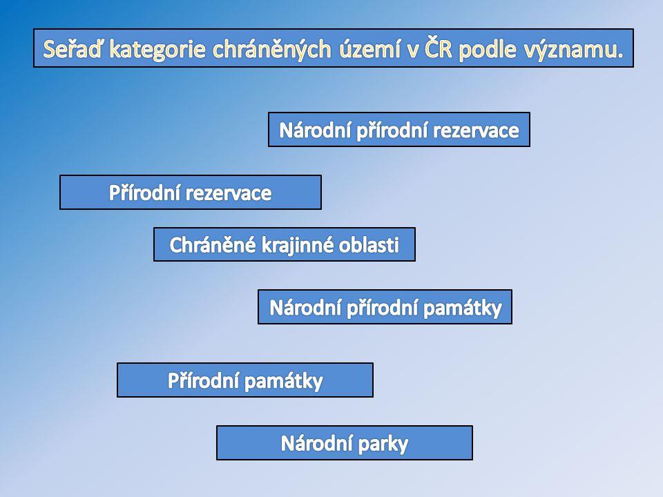 Seřaď kategorie chráněných území v ČR podle významu.