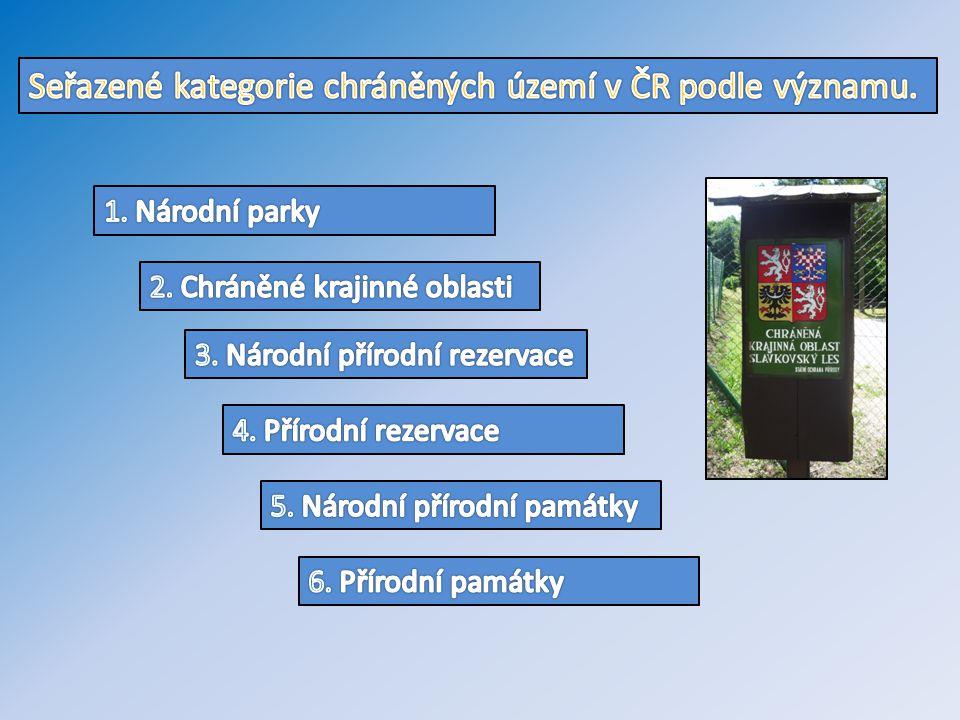 Seřazené kategorie chráněných území v ČR podle významu.