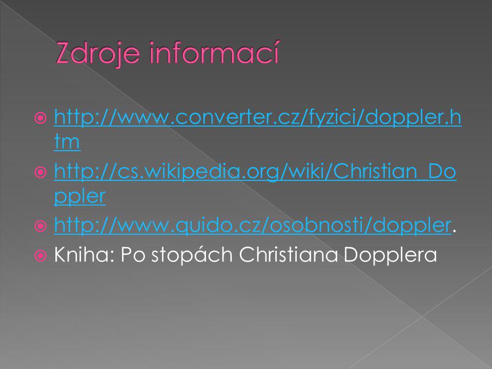 Zdroje informací http://www.converter.cz/fyzici/doppler.htm