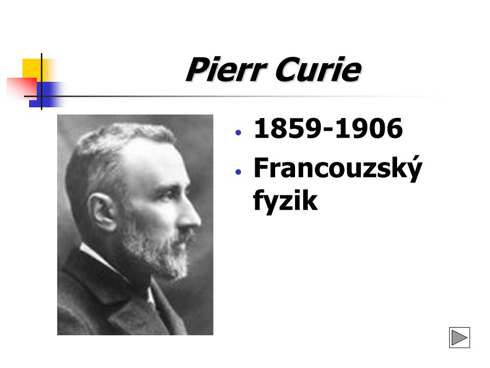 Pierr Curie 1859-1906 Francouzský fyzik
