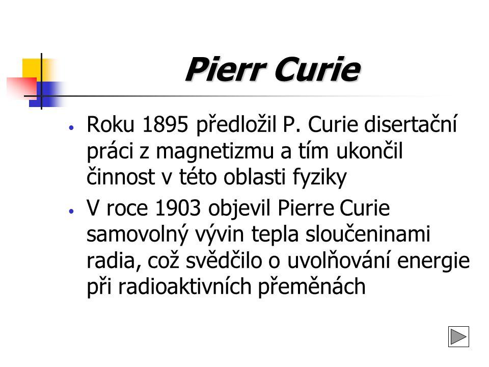 Pierr Curie Roku 1895 předložil P. Curie disertační práci z magnetizmu a tím ukončil činnost v této oblasti fyziky.