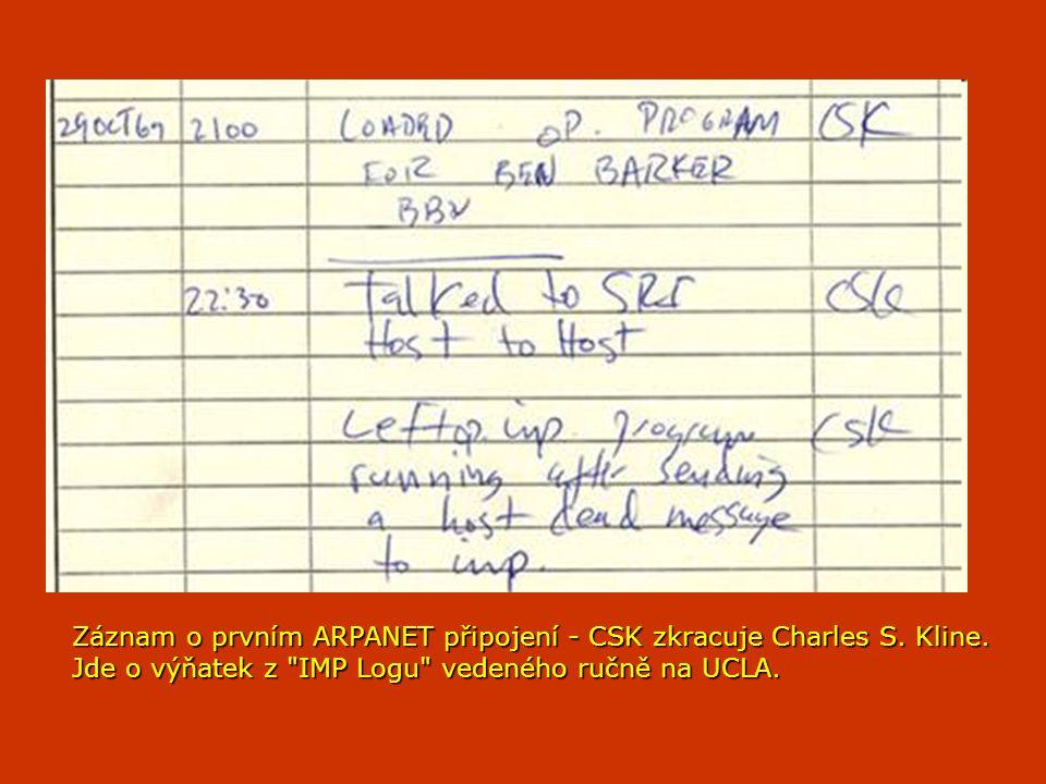 Záznam o prvním ARPANET připojení - CSK zkracuje Charles S. Kline