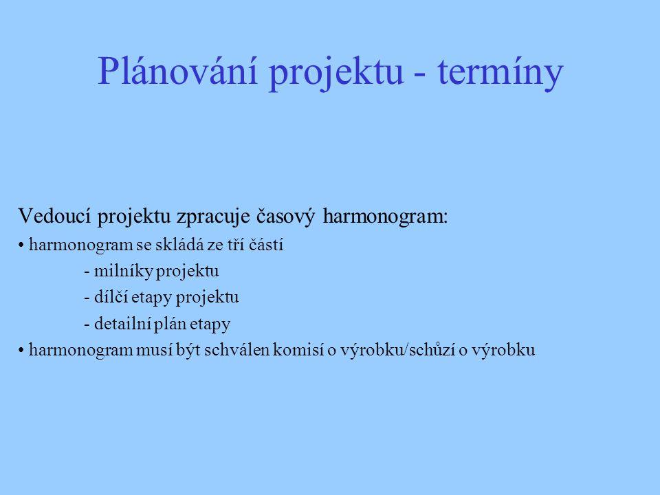 Plánování projektu - termíny