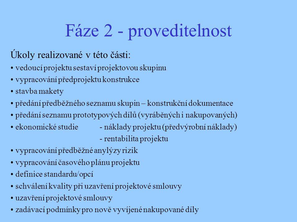 Fáze 2 - proveditelnost Úkoly realizované v této části: