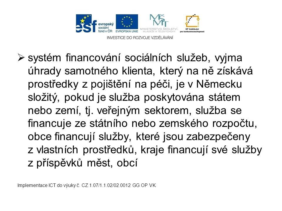 systém financování sociálních služeb, vyjma úhrady samotného klienta, který na ně získává prostředky z pojištění na péči, je v Německu složitý, pokud je služba poskytována státem nebo zemí, tj. veřejným sektorem, služba se financuje ze státního nebo zemského rozpočtu, obce financují služby, které jsou zabezpečeny z vlastních prostředků, kraje financují své služby z příspěvků měst, obcí