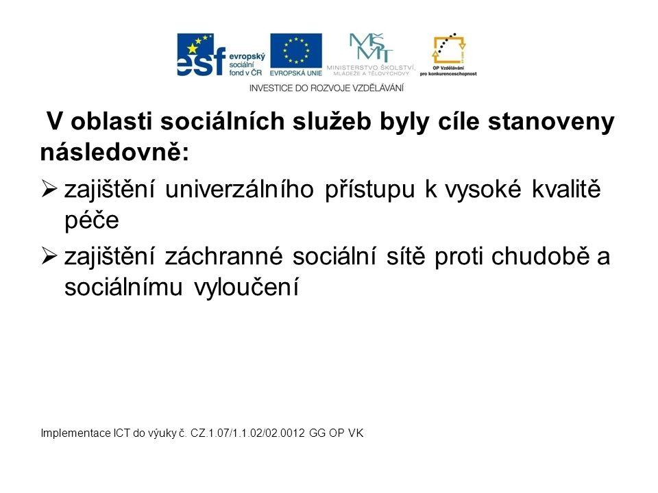 V oblasti sociálních služeb byly cíle stanoveny následovně: