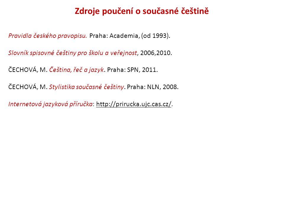 Zdroje poučení o současné češtině
