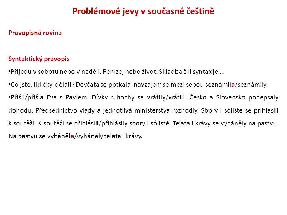 Problémové jevy v současné češtině