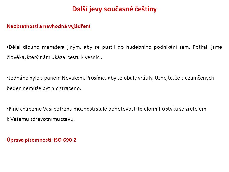 Další jevy současné češtiny