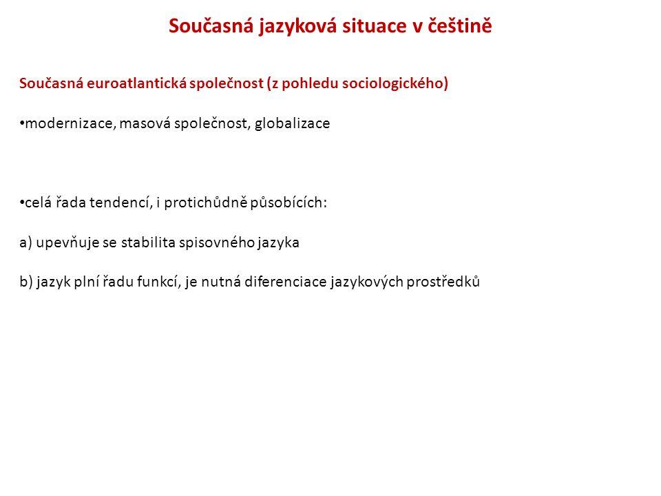Současná jazyková situace v češtině