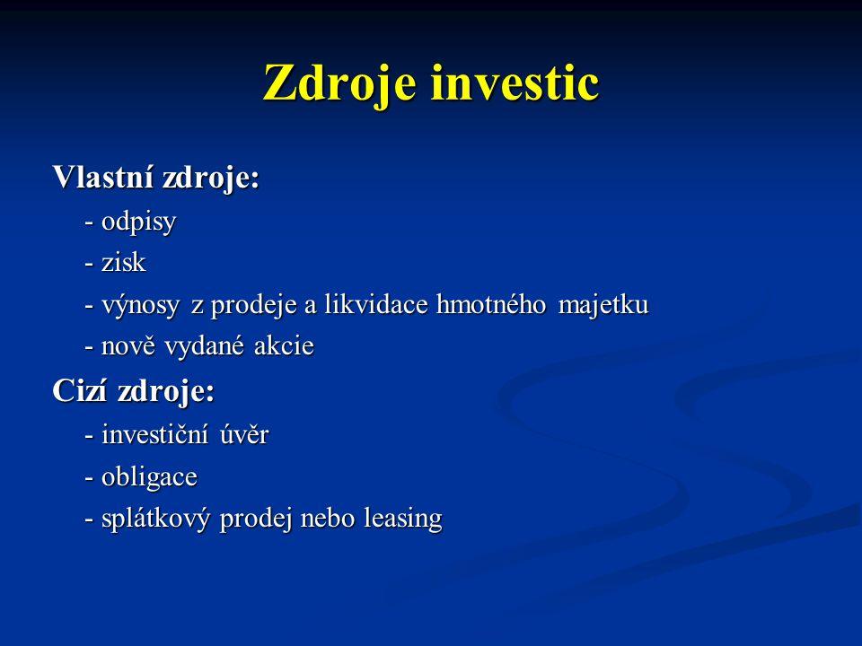 Zdroje investic Vlastní zdroje: Cizí zdroje: - odpisy - zisk