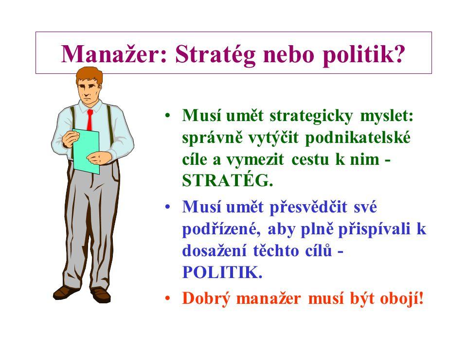 Manažer: Stratég nebo politik