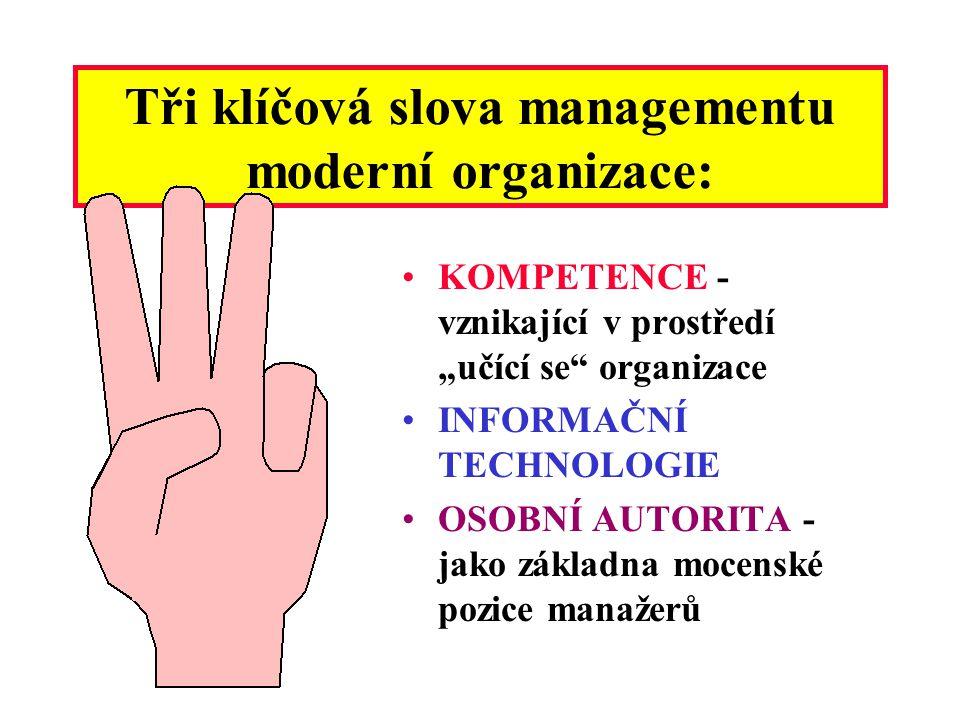 Tři klíčová slova managementu moderní organizace: