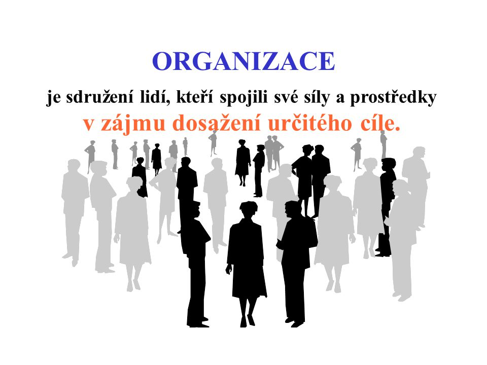 ORGANIZACE je sdružení lidí, kteří spojili své síly a prostředky v zájmu dosažení určitého cíle.