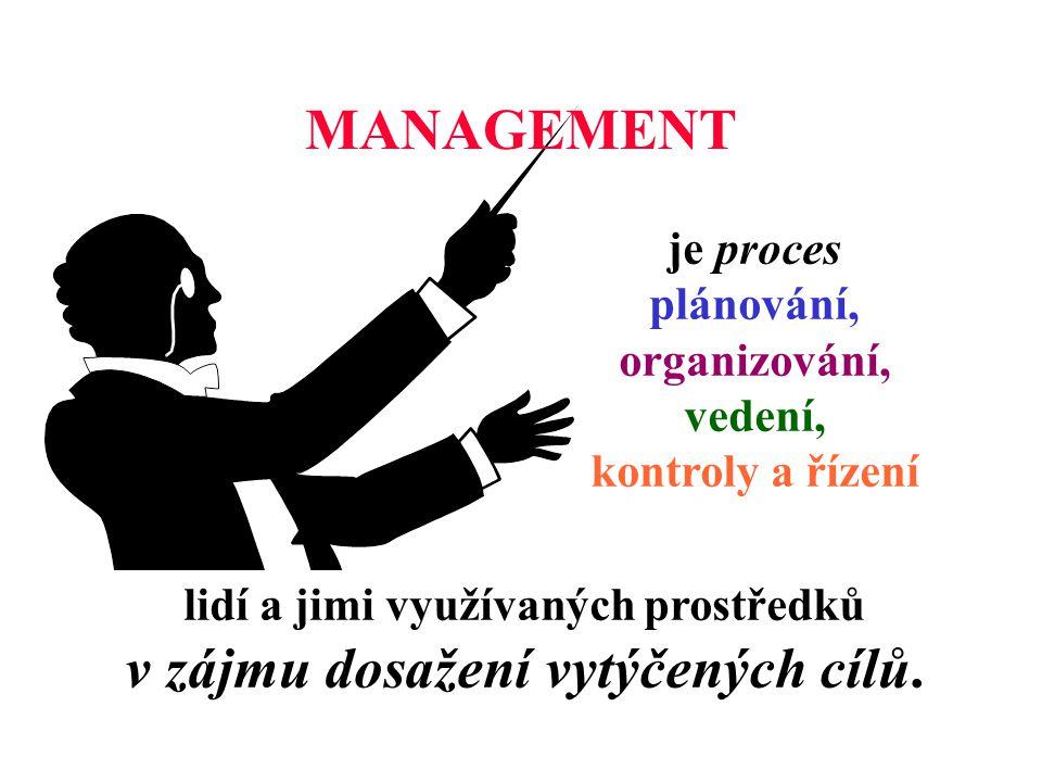 MANAGEMENT je proces plánování, organizování, vedení, kontroly a řízení.