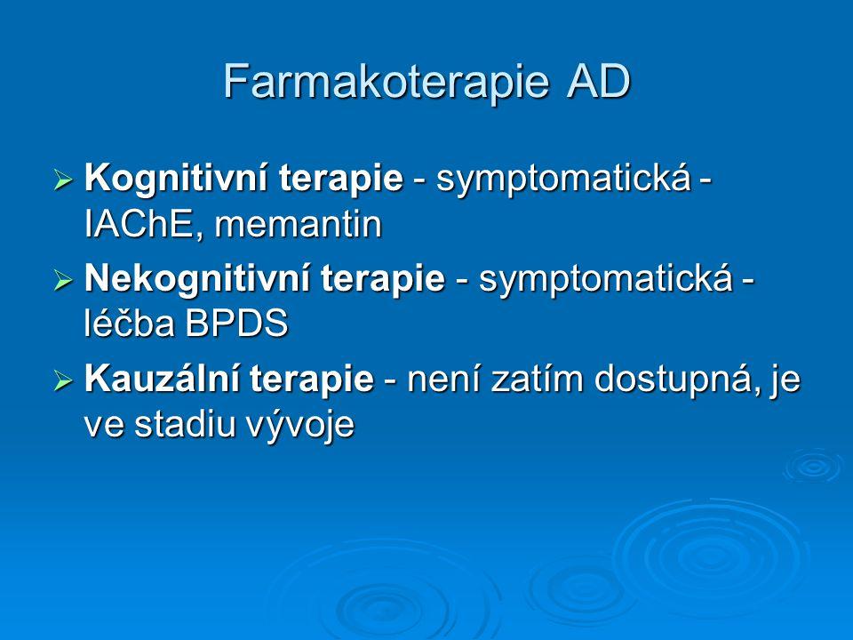 Farmakoterapie AD Kognitivní terapie - symptomatická - IAChE, memantin