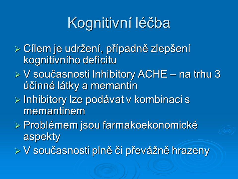 Kognitivní léčba Cílem je udržení, případně zlepšení kognitivního deficitu. V současnosti Inhibitory ACHE – na trhu 3 účinné látky a memantin.