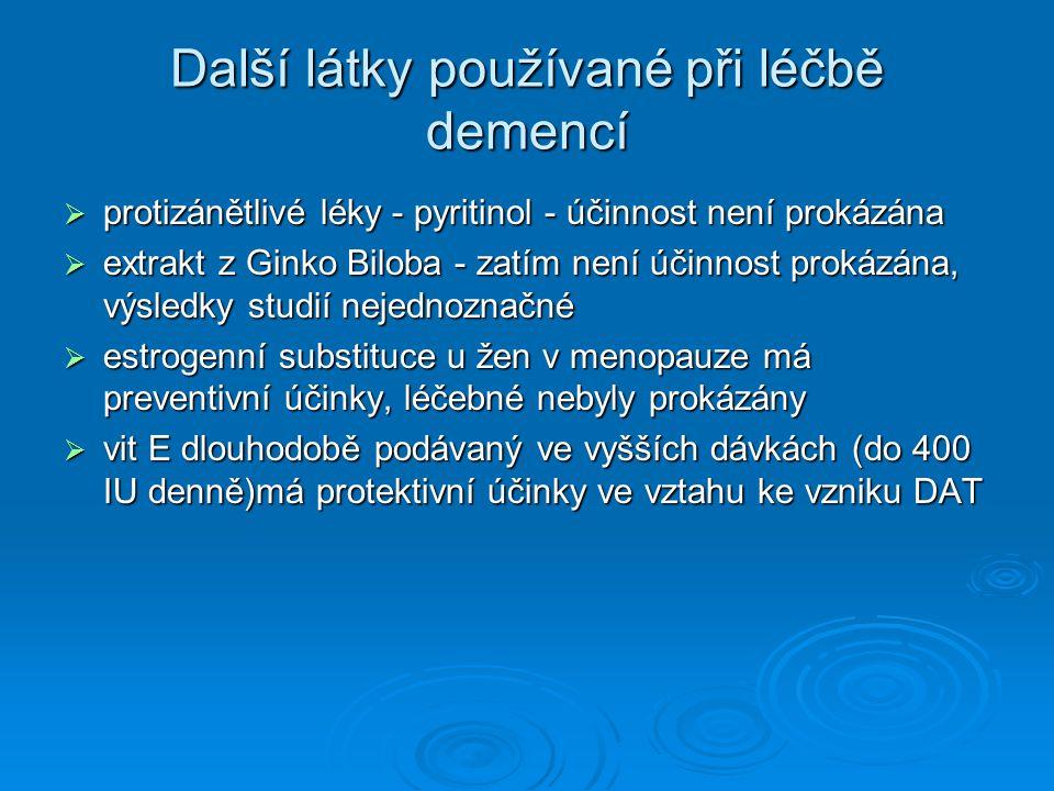 Další látky používané při léčbě demencí