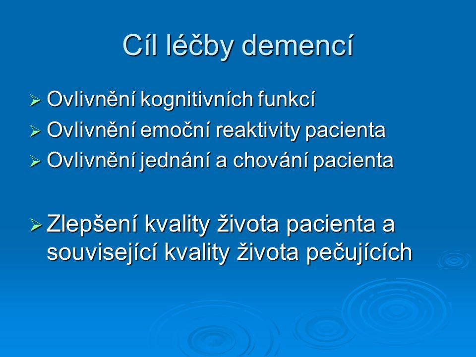 Cíl léčby demencí Ovlivnění kognitivních funkcí. Ovlivnění emoční reaktivity pacienta. Ovlivnění jednání a chování pacienta.