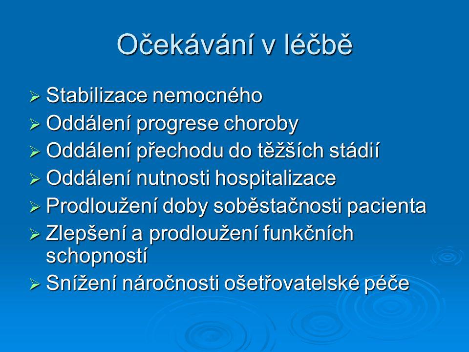 Očekávání v léčbě Stabilizace nemocného Oddálení progrese choroby