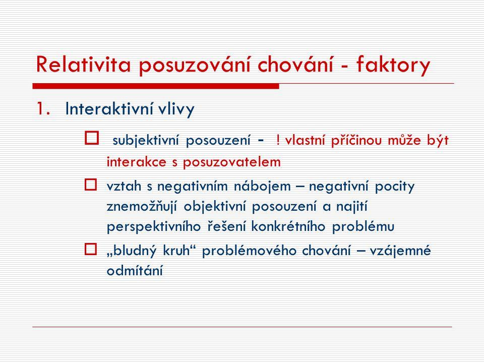 Relativita posuzování chování - faktory