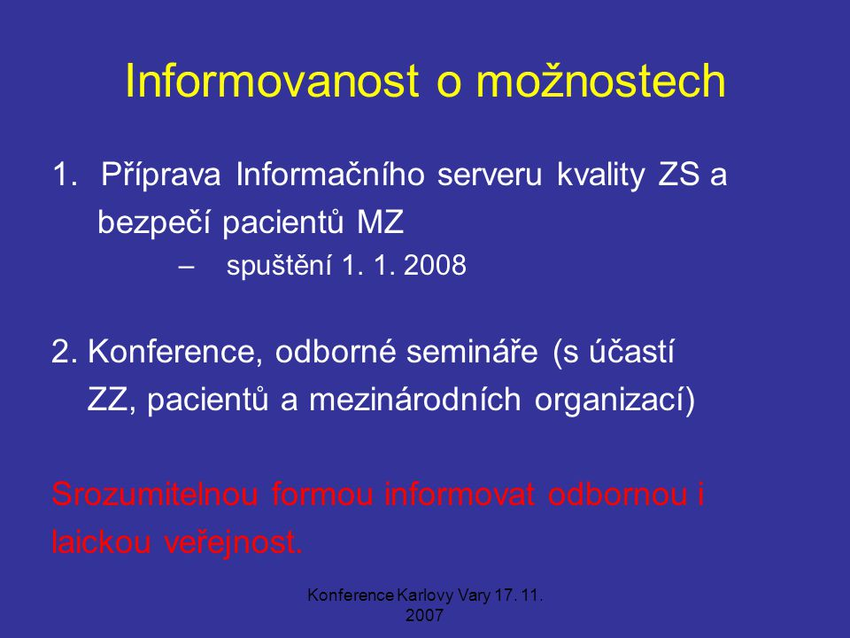 Informovanost o možnostech